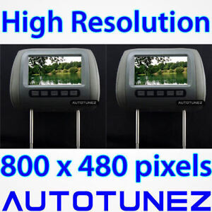"""2 x 7"""" HD Pair Of Car Headrest Pillow Rear Monitor Display Screen For DVD Player"""