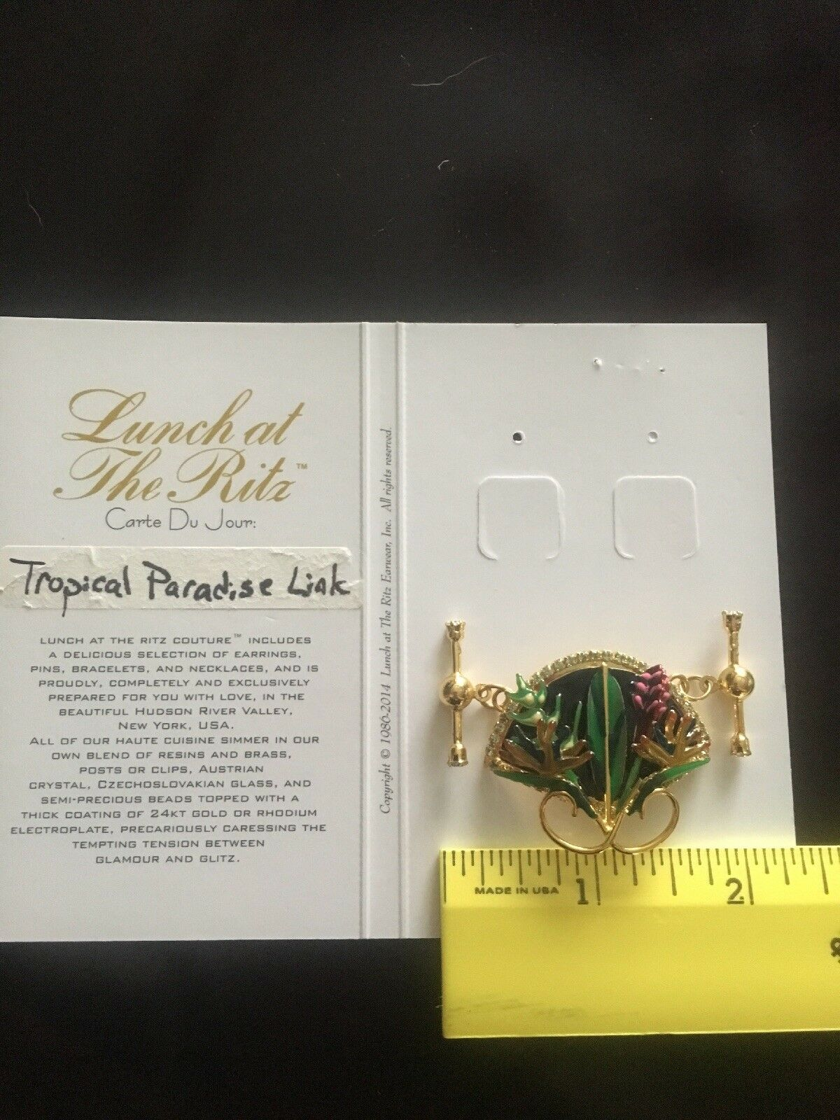 Lunch at the Ritz  Tropical Paradise Link charm  New on card