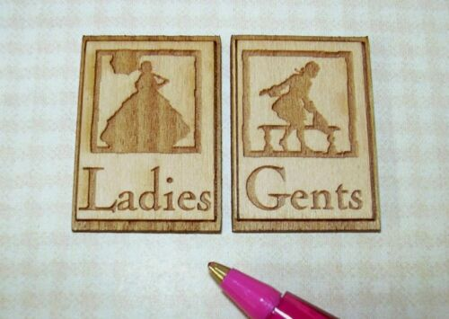 """Miniature /""""LADIES/"""" and /""""GENTS/"""" Wooden Laser Cut Signs DOLLHOUSE 1:12 Scale"""