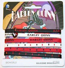 """NEW DC Comics Batman Joker Girl Harley Quinn Rubber Bracelet 6 PACK 1/4"""" Wide"""