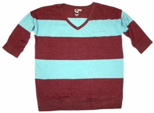 ROXY Junior Women/'s Shirt V-Neck 3//4 Sleeve Tee Striped T-Shirt Top NEW