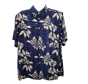 Mir-Sport-Hawaiian-Camp-Shirt-Herren-XL-Kurzarm-navy-blau-hellbraun-Blumenmuster-Rayon