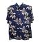 Indexbild 1 - Mir-Sport-Hawaiian-Camp-Shirt-Herren-XL-Kurzarm-navy-blau-hellbraun-Blumenmuster-Rayon