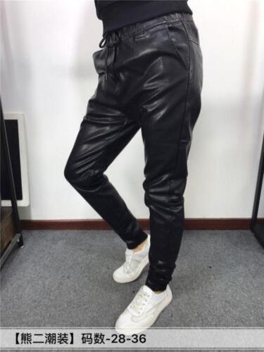 Männer Kunstleder Punk  lange Slim Fit schwarze Hip Hop stilvolle Hose Fashion