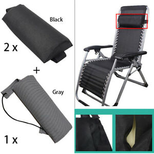 2Pcs Brown Head Cushion Headrest Replacement for Outdoor Folding Recliner