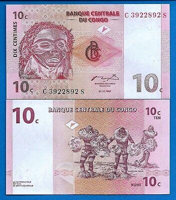 UNC Congo 10 Centimes 1997 P-82 banknote