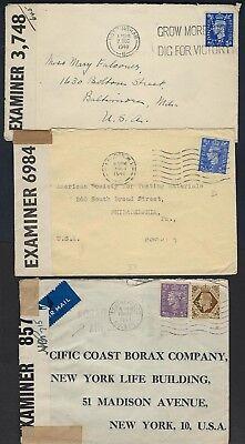 Perfins One Mit Aggressiv Uk Gb 1940s Drei Kriegszeit Zensiert Abdeckung-m Invertiert Angenehme SüßE
