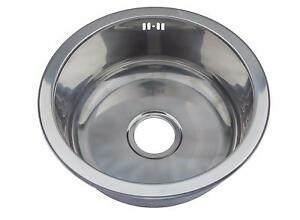 image is loading small single 1 0 one round bowl stainless - Kitchen Sink Round