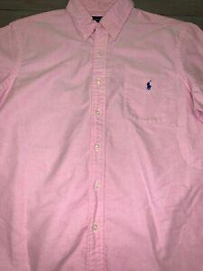 Polo-Ralph-Lauren-Men-s-Casual-Dress-Shirt-L-Pink-Oxford-Short-Sleeve