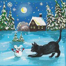 4x4 PRINT OF PAINTING RYTA FOLK ART BLACK CAT MOUSE SNOWMAN MAGIC WINTER SNOW