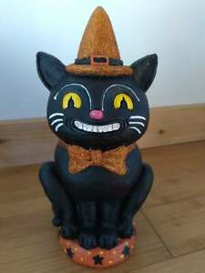 "Halloween Vintage Style Black Cat 10.5"" Resin Statue"