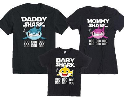 Family Set Baby Shark Mama Shark Papa Shark Tshirt Family