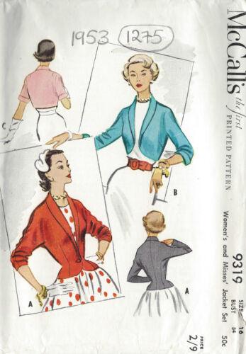 1275 1953 Vintage Sewing Pattern B34 JACKET