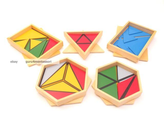 NEW Montessori Sensorial- Constructive Triangles Set of 5 Boxes