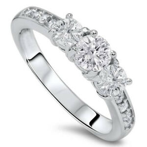 1ct-Diamond-3-Three-Stone-Engagement-Ring-10K-White-Gold
