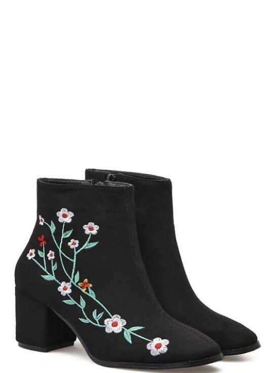 stivali stivaletti bassi scarpe alto 7 cm nero fiori eleganti simil pelle 9467