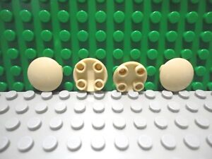 Lego 4 Tan 2x2 Round Finishing Tile NEW