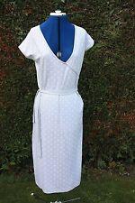 New Mexx Grey & white spots V neck cap sleeve calf length dress size 14 viscose