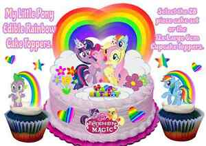 Edible My Little Pony Rainbow Hearts Stars Stand Up Birthday Cake