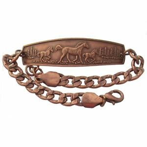 Solid-Copper-Bracelet-Horses-Unique-Handmade-Western-Style-Jewelry-Chain-Link