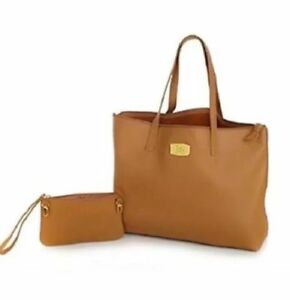 New Genuine Leather Joy Mangano Tote Rfid Clutch Purse Camel Color Handbag Tan Ebay