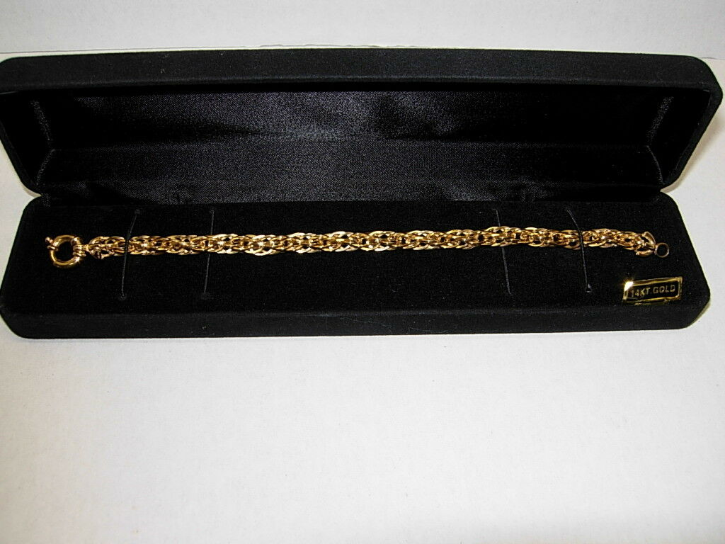 14KT Yellow gold 7 1 2  Bracelet w Large Toggle Clasp 10 Grams NEW