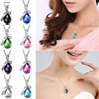 Chain Silver Women Pendant Rhinestone Fashion Necklace Heart Crystal Jewelry