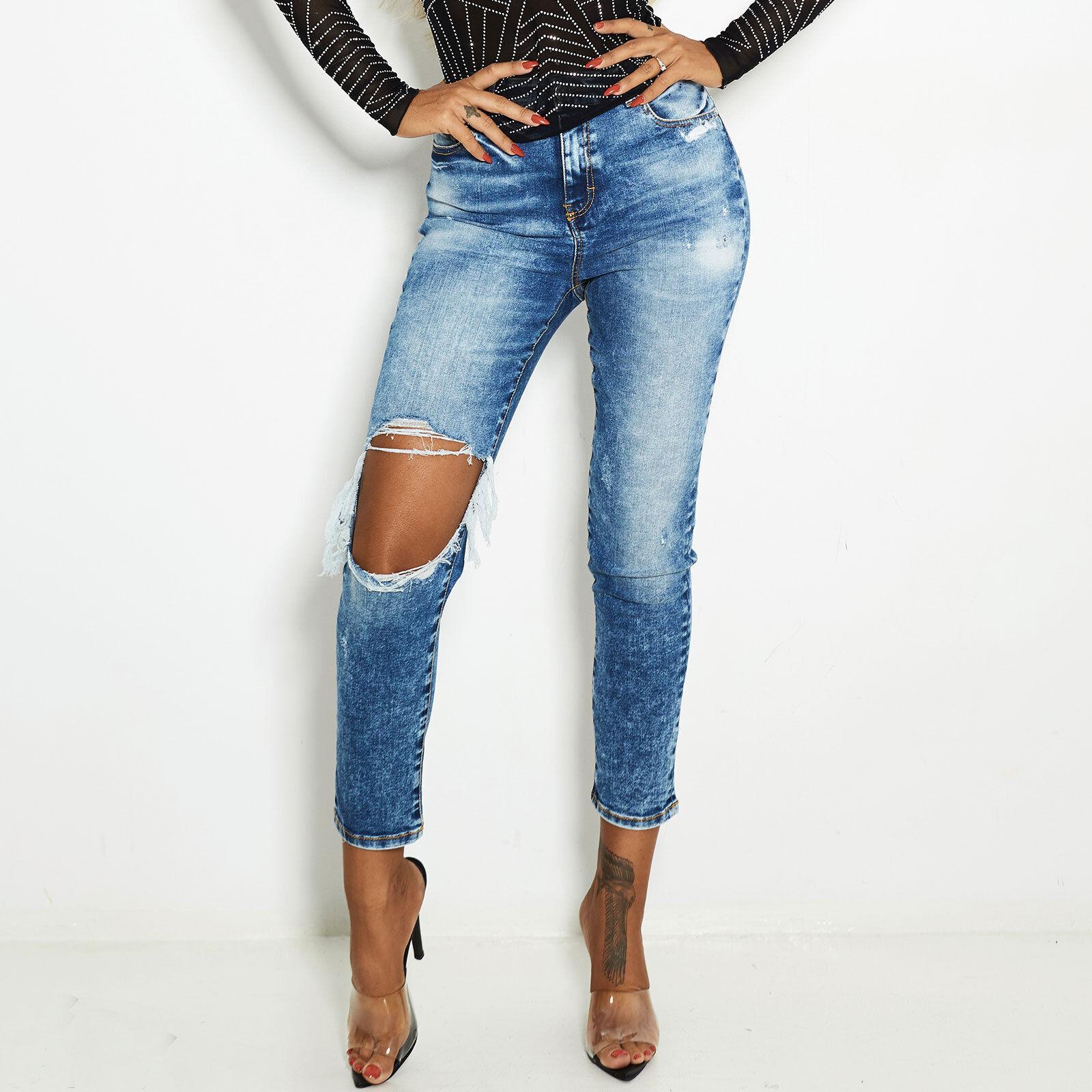 By Alina Damenhose Röhrenhose HIGH-WAIST Boyfriend 7 8 Jeans Hose Blau XS S M