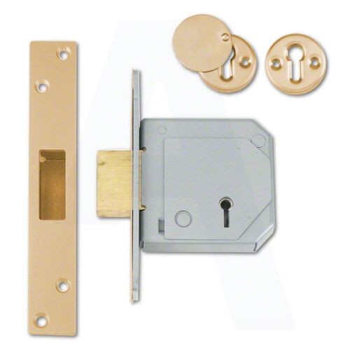 Union C-Series 3G114E BS 5 Lever Deadlock 80mm Polished Brass Keyed To Differ