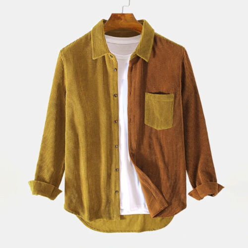 Men/'s Stitching Contrast Color Corduroy Denim Short Jacket Casual Lapel Top New