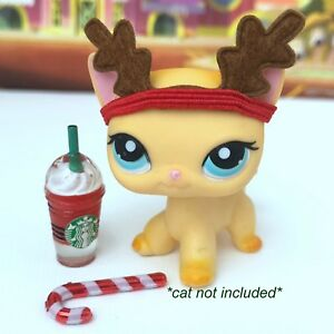 Littlest Pet Shop Accessories Lps Starbucks Lot Reindeer Cat Not