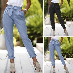 Mode-Femme-Long-Pantalons-Quotidien-Decontracte-lache-Noue-Loisir-Poches-Plus