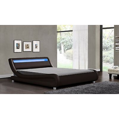 LED Headboard Bed Double King Size Black White Brown Faux Leather & Mattress New