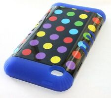 iPod Touch 4th Gen - HARD & SOFT RUBBER HYBRID ARMOR CASE BLUE PURPLE POLKA DOTS