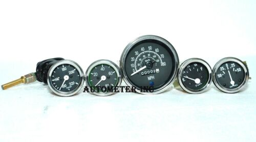 Speedometer Temp Oil Fuel Amp Gauge Set Chrome BL for Willys MB Jeep Ford CJ GPW