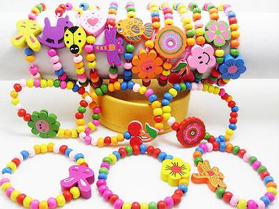 Lots 12 wood  kids children party birthday wristband Xmas bracelets  wholesale