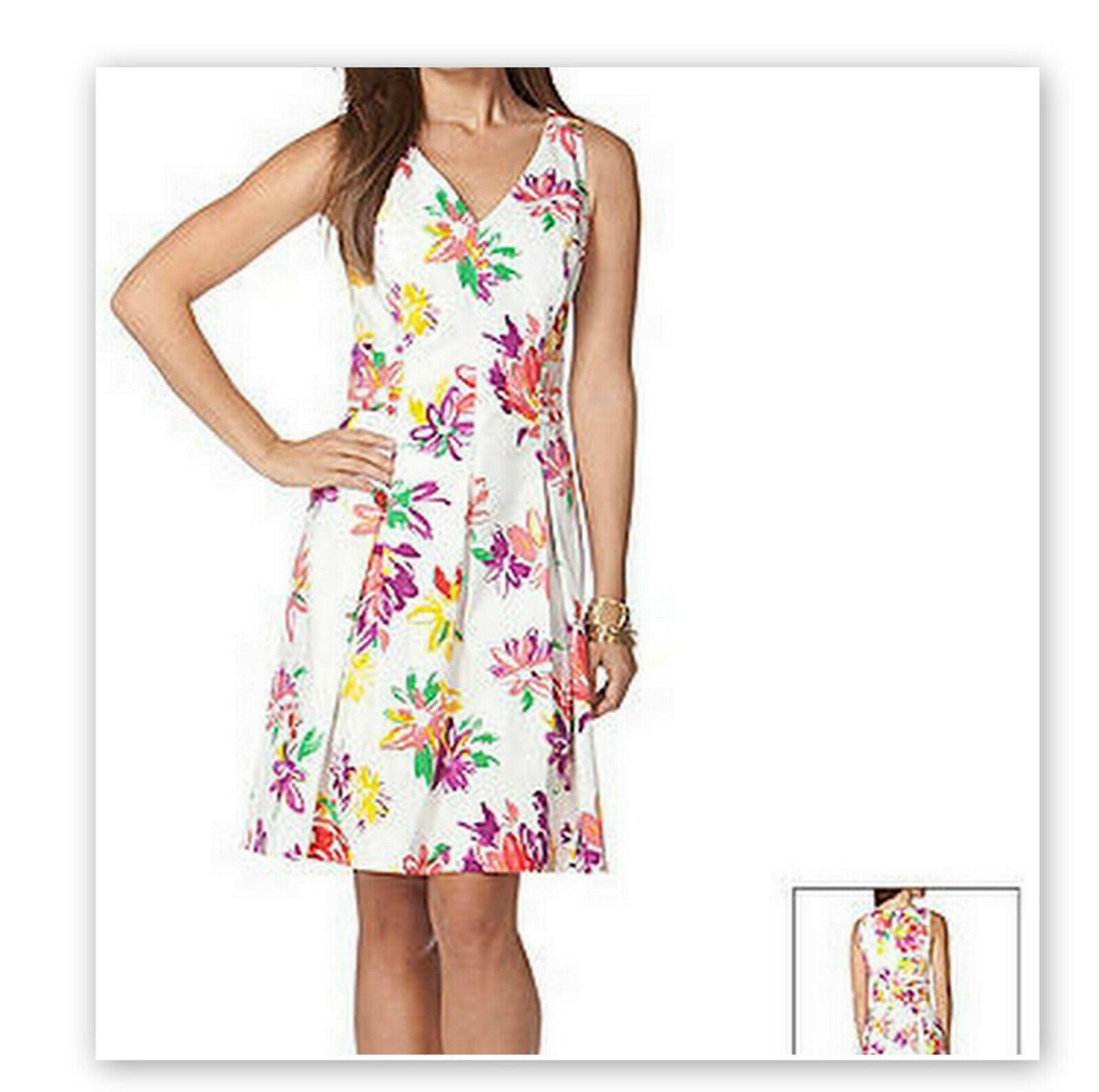 Ralph Lauren Chaps Dress Größe 12 Weiß Rosa Fit Floral Cotton