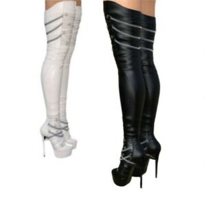 Details about  /Sexy Women Pumps Pull On Super High Heel Knee High Boots Crocodile Print Club L