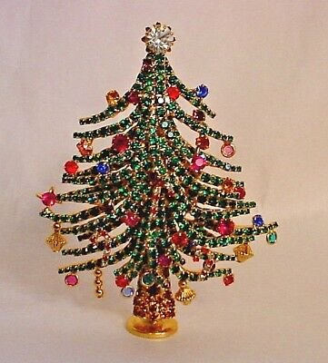 Huge Limited Edition Dorothy Bauer Rhinestone Christmas Tree Pin #16/250