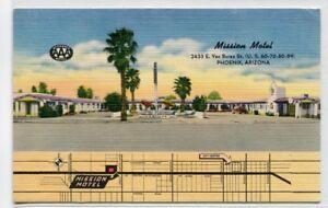 Mission Motel Map Us 60 70 80 89 Phoenix Arizona Linen Postcard Ebay - Us-60-map