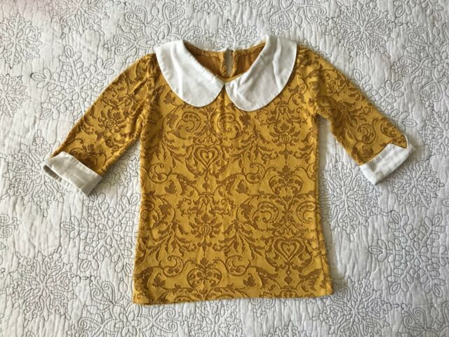 Persnickety Sz 5 Gold Laylah Top with White Collar EUC