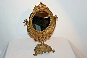 Vintage Iron Art Victorian Style Table Mirror Cherub Flowers Gold Color