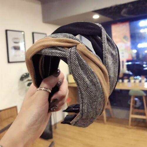 Mode Damen Stoff Kontrast Farbe Gitter Stirnband Haarband Mädchen Haarschmuck