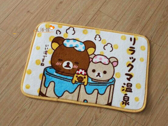 Superfine Soft San-X Rilakkuma Relax Bear Plush Door Floor Mat Rug Skidproof
