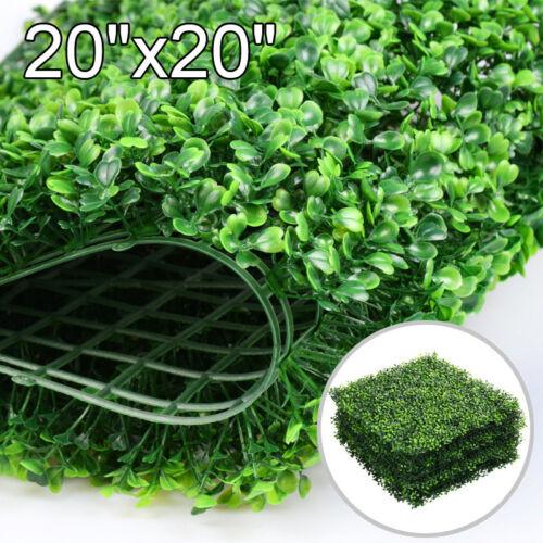 6PCS 20 x 20 Artificial Boxwood Panel Fence Hedge Greenery Garden Decor Grass