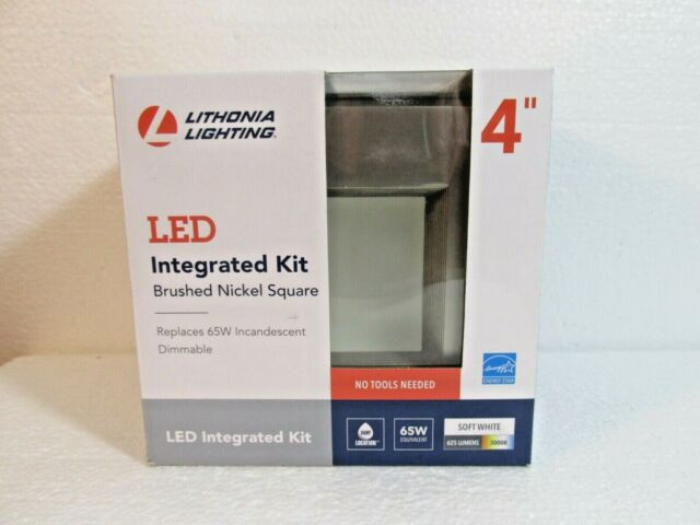 Lithonia Lighting OneUp Square 4 in Brushed Nickel Integrated LED Recessed Kit