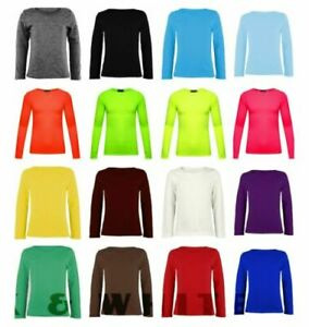 Girls-Kids-Basic-Long-Sleeve-Top-Kids-Plain-Neon-School-Tee-Tops-T-Shirt-2-13