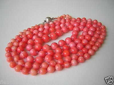 Jewelry & Watches Lange Kugel Kette Lachs Koralle 835 Silber Verschluß 44,6 G/102,5 Cm Coral Fine Jewelry