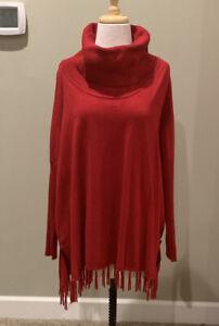 Boston Proper Red Sweater Size L Fringe hem cowl neck