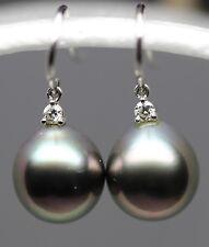 18kt White Gold South Sea Tahitian Peacock Color Pearl Diamond Earrings